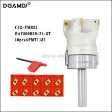 1set C12 FMB22 Shank + BAP300R 50 22 인덱서 블 페이스 밀 커터 APMT1135 인서트 용 5 플루트 엔드 밀 직각 숄더