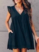 2019 Summer Women Elegant Black Lace Mini Dress Female V-Neck Hollow Out Leisure Broderie Anglaise Ruffles Design Casual Dress black crossed front design v neck mini dress