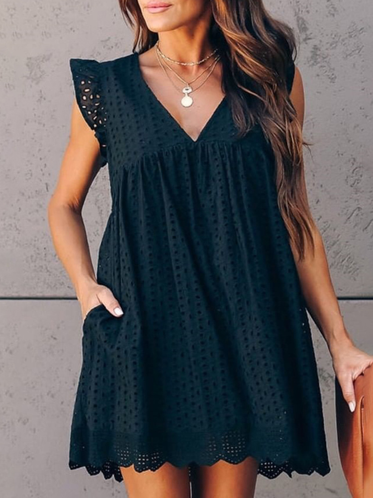 2020 Summer Women Elegant Black Lace Mini Dress Female V-Neck Hollow Out Leisure Broderie Anglaise Ruffles Design Casual Dress