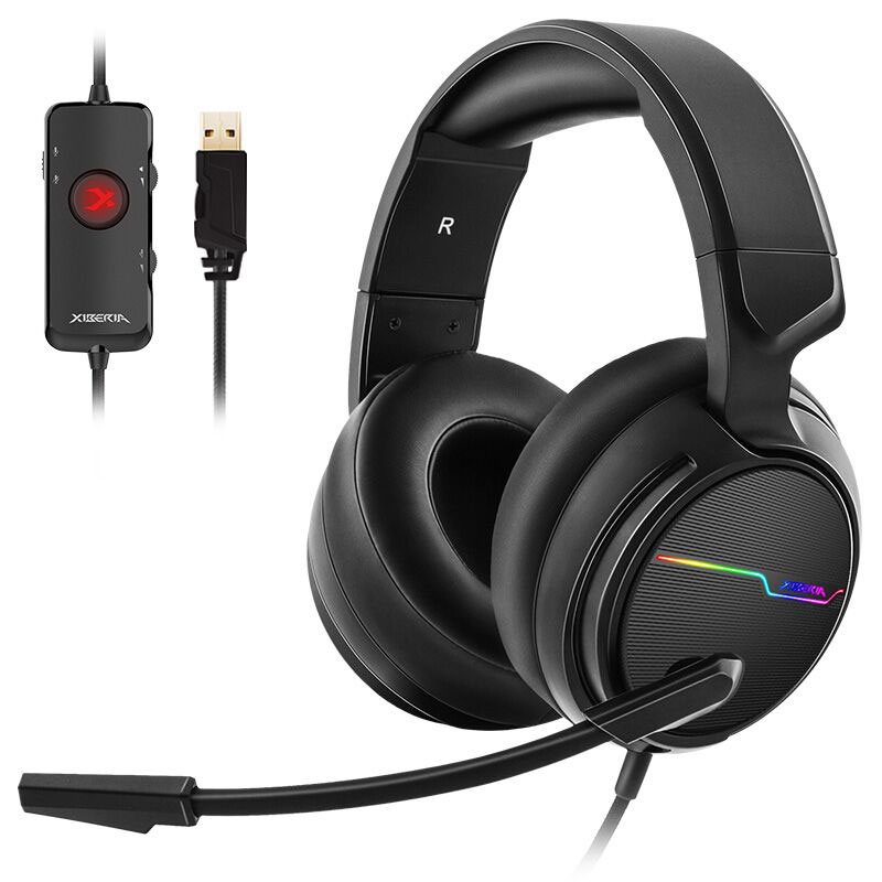 <font><b>Xiberia</b></font> V20U für PC Computer Gamer Headset USB 7.1 Noise Cancelling Surround Klang Wired Gaming Kopfhörer mit Mikrofon image