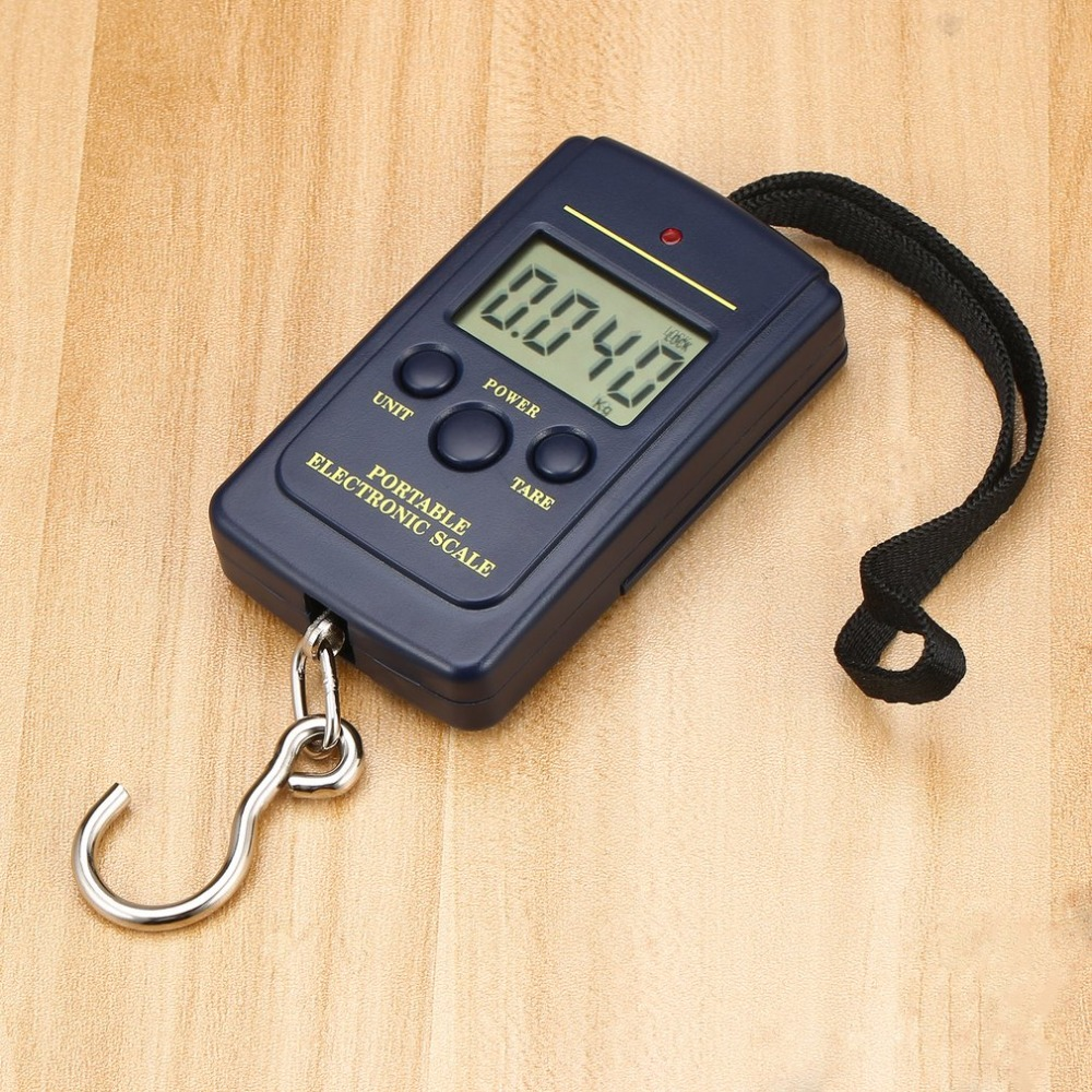 Load 40Kg Pockets Digital Fishing Scale Protable Electronic Hanging Luggage Weighting Multi Used Balance Weight Steelyard Black