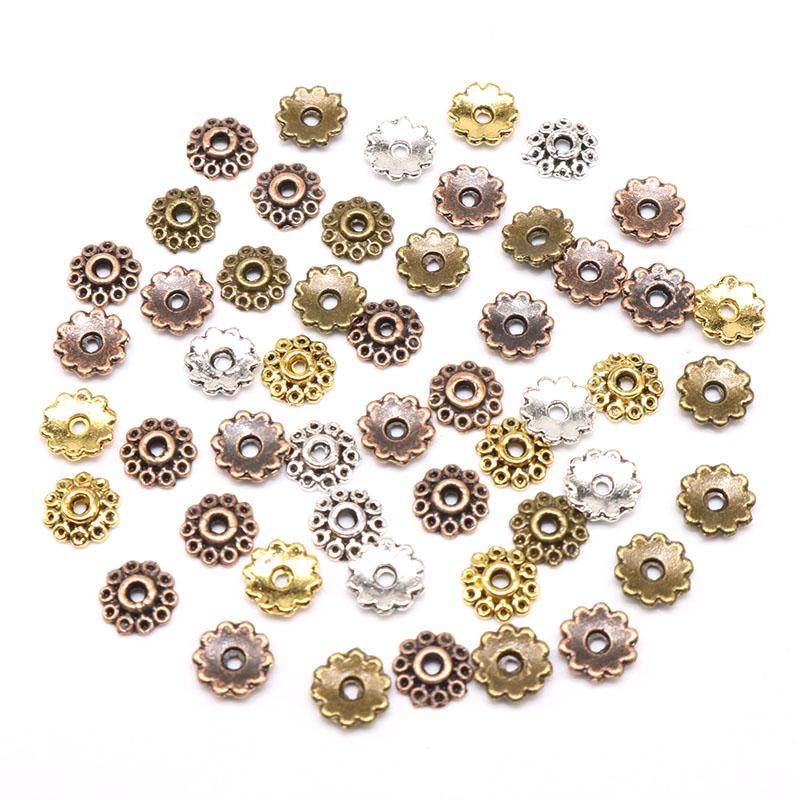 Small Flower Beads Caps Mix Spacer Beads  5mm 100/200pcs Tibetan Silver Plated Zinc Alloy End Caps Pattern Bead Caps