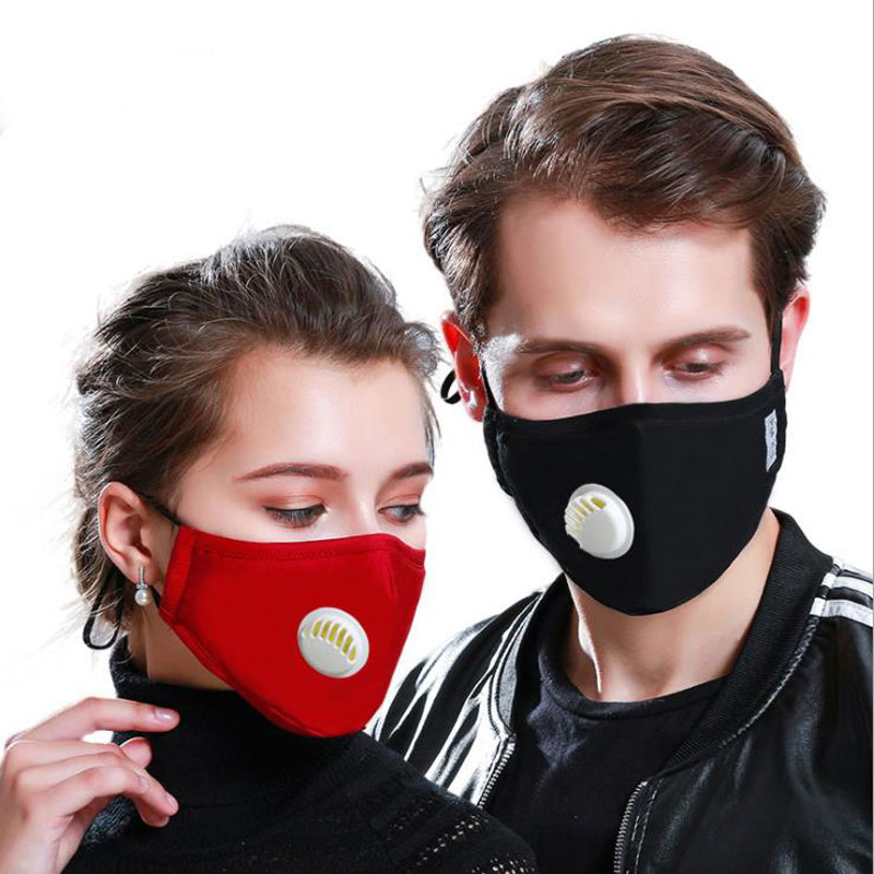 Fashion Unisex Cotton Breath Valve PM2.5 Mouth Face Mask Anti-Dust Anti Pollution Mask Cloth Activated Carbon Filter Respirator