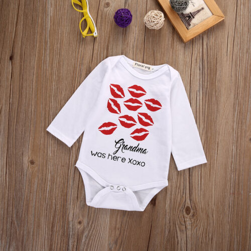 Lustig Neugeborenes <font><b>Baby</b></font> Jungen Mädchen Body Babgyrows Outfit Kleidung Frühling Oma war hier-Neugeborenen <font><b>Baby</b></font> Kleidung Babygrows 0- 18M image