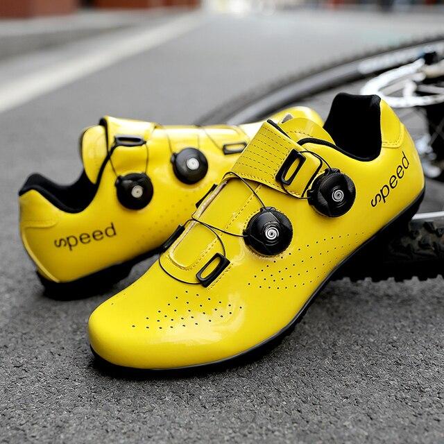 Alta qualidade dupla fivelas sapatos de ciclismo mtb respirável auto-bloqueio sapatos de bicicleta profissional tênis de estrada da bicicleta cleat sapatos 4