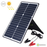 HAWEEL Portable 20W Monocrystalline Silicon Solar Power Panel Charger with USB Port & Holder & Tiger Clip, Support QC3.0 and AFC