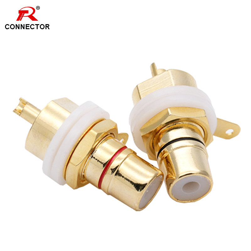 25Pairs Gold-Plated RCA Lotus Female Socket,HIFI Audio Terminals , Amplifier CD Input RCA Socket, Rhodium-plated RCA for options