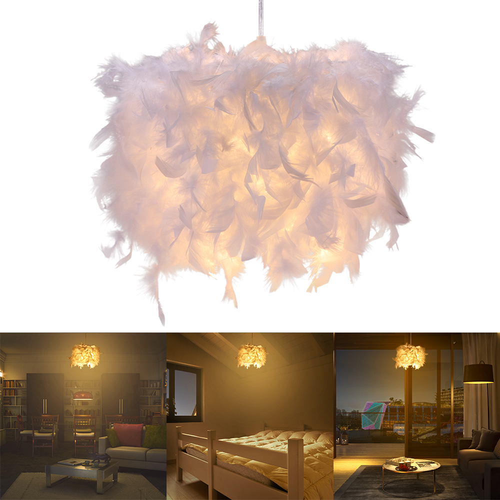 Spirited Modern Luxury Feather Droplight Romantic Hanging Dome Lamp Lamparas Pendant Luminaria Chandelier For Living Room Bedroom