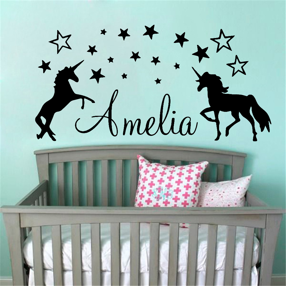 Personalized Custom Name Unicorn Wall Decal Sticker Removable Vinyl Decor For Kids Boys Girls Room Wall Art Mural 3.0