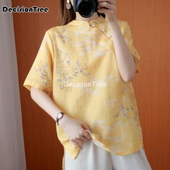 2021 tradycyjna chińska odzież topy strój tang dla kobiet kwiat wydruku hanfu bluzka koszula chińska stylowa koszula bluzka damska tanie i dobre opinie DecisionTree COTTON Linen CN (pochodzenie) WOMEN Suknem