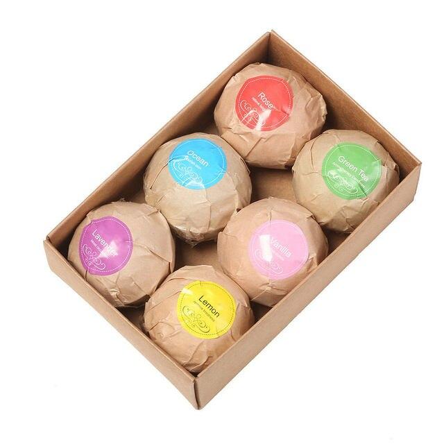 6 Colors Shower Salts Ball Bath Salts Ball Organic Fizzy Bath Bombs Set Handmade SPA Stress Accessories 1