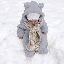 Зимняя одежда для новорожденных мальчиков и девочек; зимний флисовый комбинезон; комбинезон с капюшоном; теплое пальто; Верхняя одежда; коллекция года; теплый зимний комбинезон; Neonato Inverno