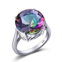 Szjinao 100% prawdziwe 925 Sterling Silver Mystic ogień Topaz pierścienie dla kobiet mężczyzn okrągły Rainbow cyrkon pierścień biżuteria szczęśliwy kamień prezenty