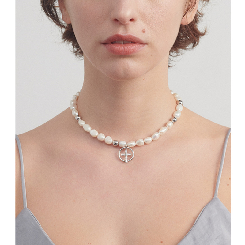 Justin Necklace in 2019 European and American brass gold-plated natural freshwater pearl hand-woven necklace for women