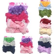 3PCS/Set New Fashion Sweet Baby Headband Girl Ribbon Elastic Nylon Headdress Casual Cute Kids Newborn Band Bow Headwear Hot Sale