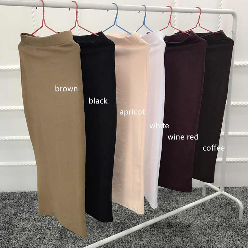6 Colors Abaya Muslim Pencil Skirt Women Elastic Skirts Maxi Middle East Bodycon Skirts High Waist Long Skirt Islamic Clothing