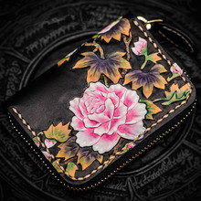 Mini purse women's short zipper Peony wallet ladies genuine leather card holder bag coin purses female leather wallets