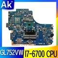 Материнская плата ROG GL752VW с I7-6700CPU N16P-GX-A1  материнская плата REV2.0/REV2.1 для ASUS GL752V GL752  протестированная материнская плата для ноутбука