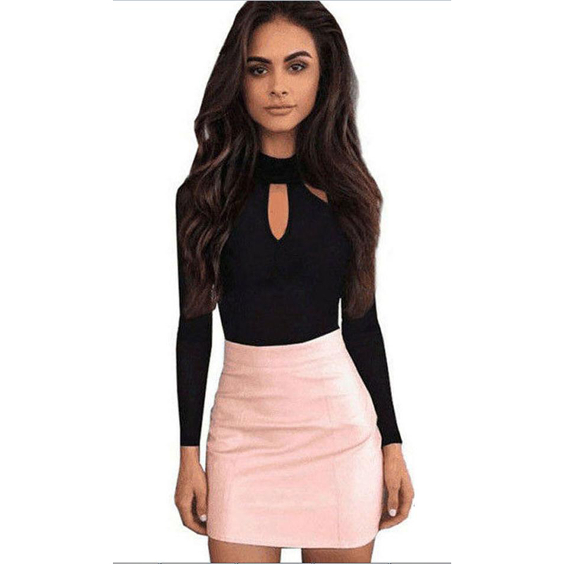 New Fashion Women O Neck Long Sleeve Jumpsuit Hollow Out Stretch Black   Romper   Ladies Casual Slim Playsuit Holiday Club Wear