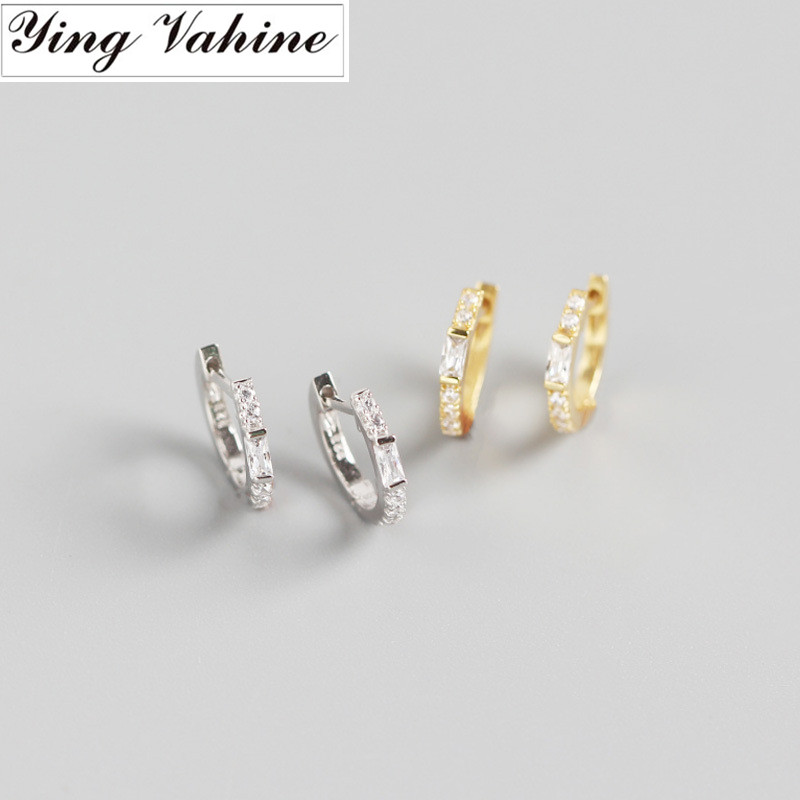 Ying Vahine 100% 925 Sterling Silver Square Zircon Stud Earrings For Women
