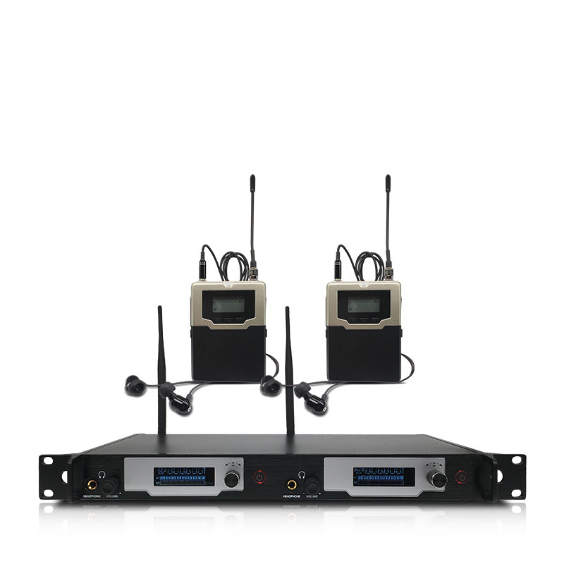 Bezprzewodowy system monitorowania dousznego 2 kanały i 2 monitory bodypack, z bezprzewodowym monitoringiem dousznym na scenę