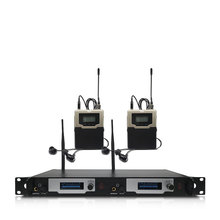Wireless in-ear monitoring system 2 channels and 2 bodypack monitors, with in-ear wireless monitoring type for stage