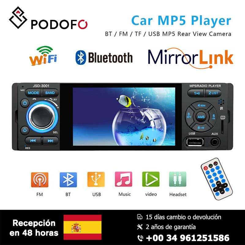 Podofo MP5 4 ''HD Player de Vídeo rádio Do Carro 1din Capacitiva Touch Screen Display Digital Multimedia Bluetooth Build-in autoradio FM