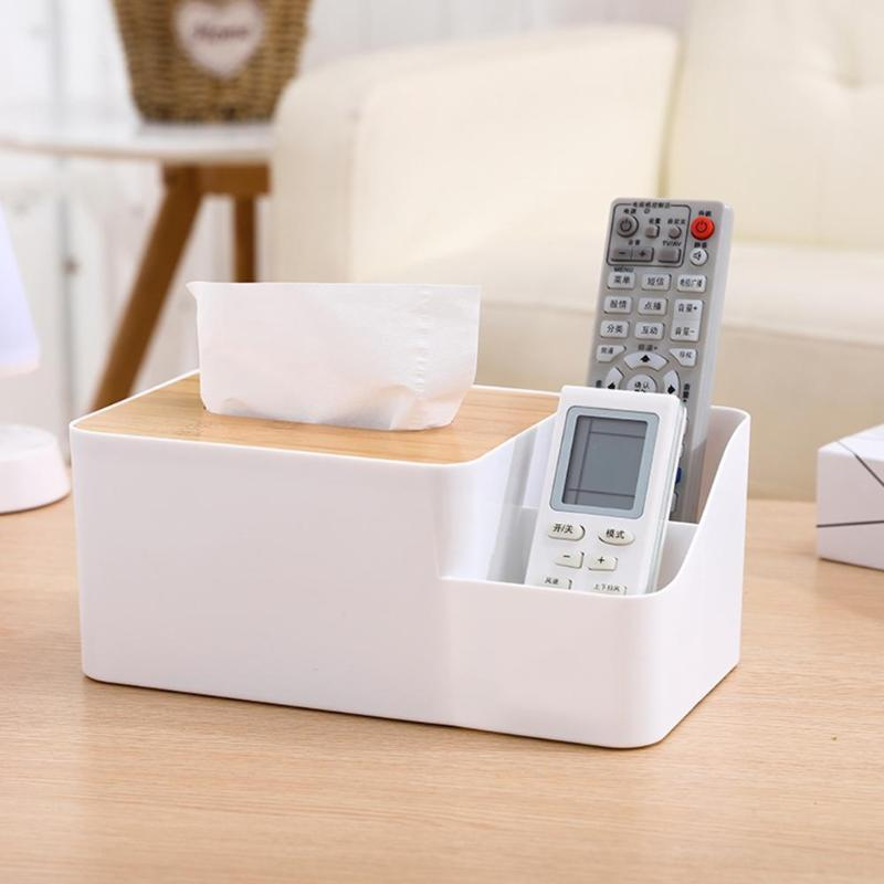 Plastic Tissue Box Waterproof Bamboo Wooden Cover Holder Kitchen Storage Office Home Car Organizer With Phone Slot