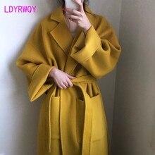 2019 modelos de outono e inverno versão coreana das correias lapela longo parágrafo casaco de gengibre solto casaco de lã cashmere regular