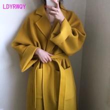 Manteau de laine ample en cachemire régulier, modèles dautomne et dhiver, version coréenne du revers à bretelles long paragraphe, modèle 2019