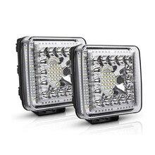 Lámpara led de 4 pulgadas para trabajo de coche, luz cuadrada de 105w, 12V y 24V, barra de luz de trabajo ajustable, impermeable