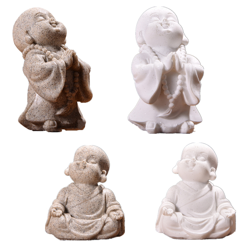 Cute Little Monk Statue Sandstone Chinese Thailand Maitreya Buddha Statuettes Lovely Figurine Home Decor Craft Ornament Gift