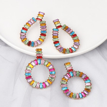 Colorful Acrylic Alloy Dangle Earrings For Women Fashion Geometric Round Water Drop Earring Female Jewelry Accessories 2019 New