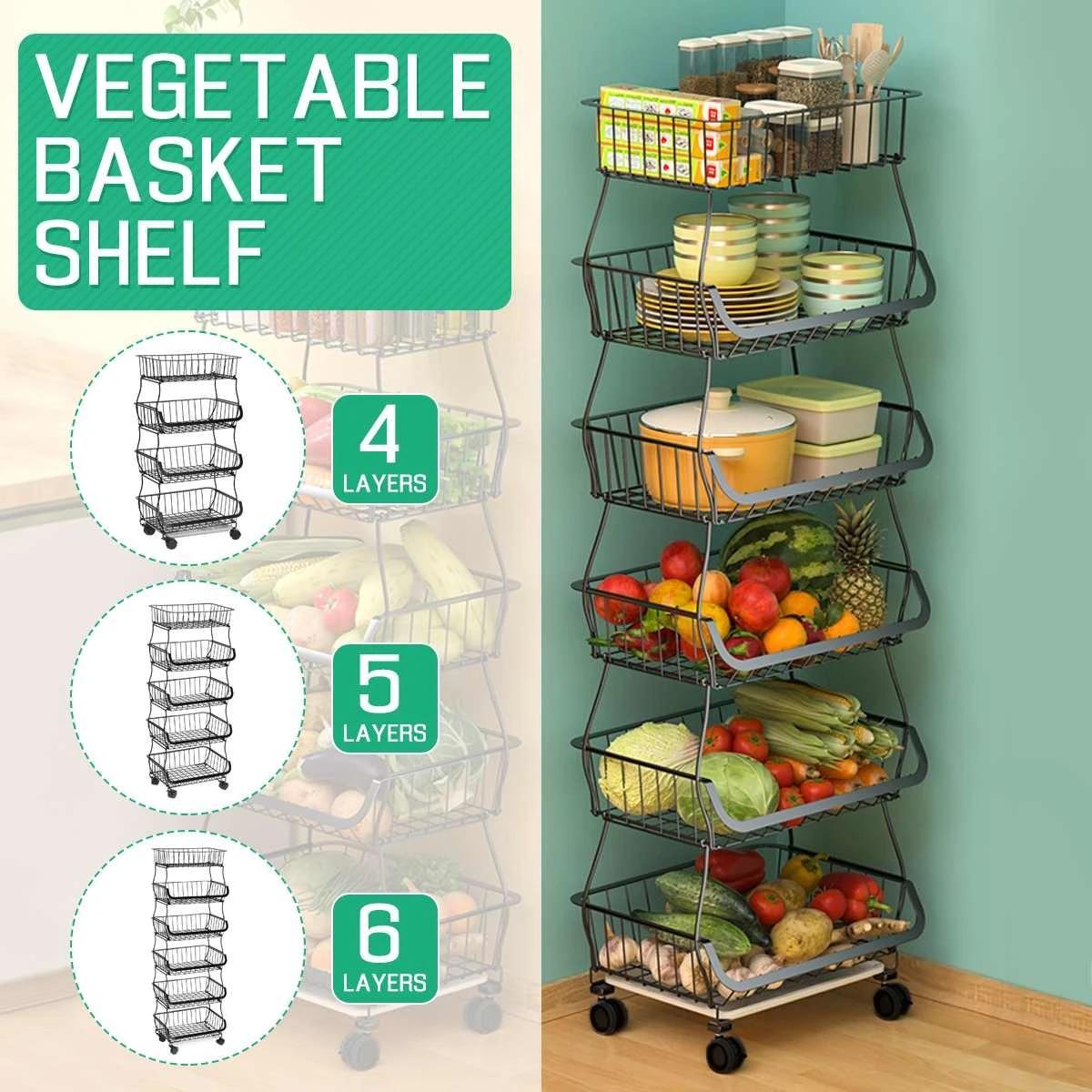 Kitchen Stackable Vegetable Fruit Rack Basket Storage Shelves Stand