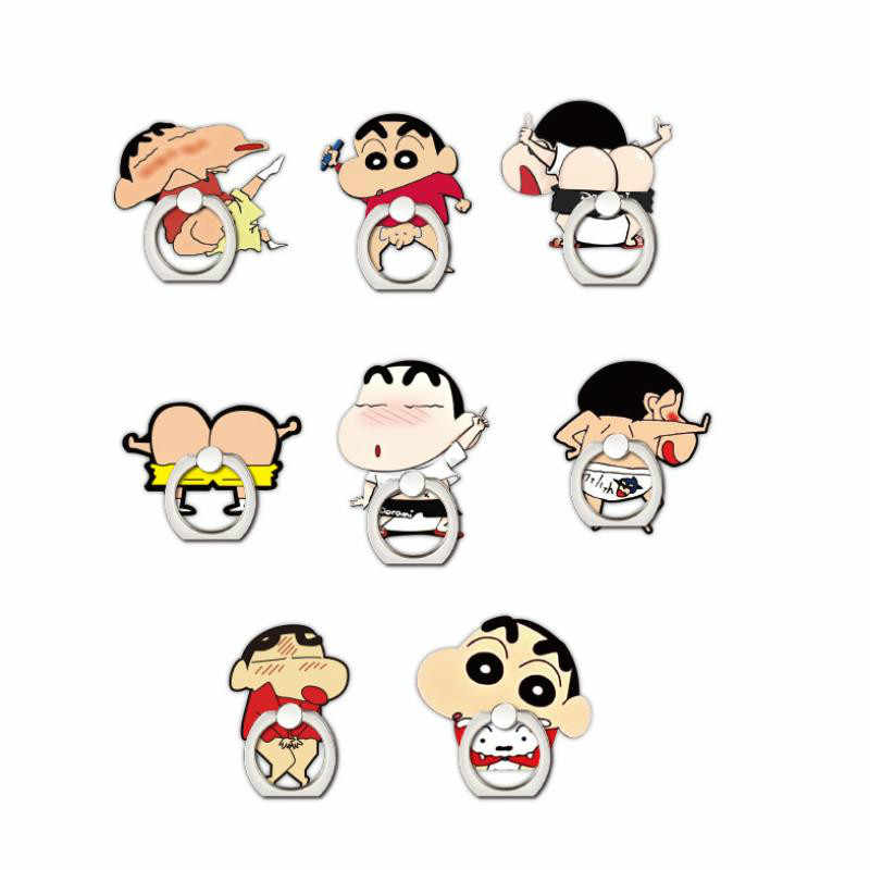 1pc Cute Cartoon Phone Ring Holder Mobile Phone Holder Crayon Shin Chan Phone Stand Finger Ring Holder Figure Toys for Kids Gift