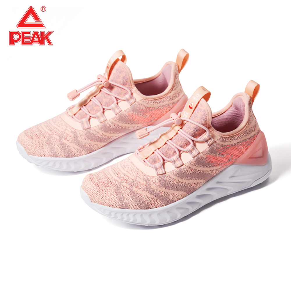 PEAK TAICHI Female Sneakers Breathable Lightweight Running Shoes Elastic Band Jogging Leisure Shoes Super Small Size 35 36 37