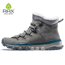 RAX Mens Hiking Boots Genuine Leather Shoes Winter Hiking Boots For Men Outdoor Warm Hiking Shoes Sneakers Walking Shoes Man