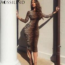 Женское облегающее платье миди aossilind длинное с длинным рукавом