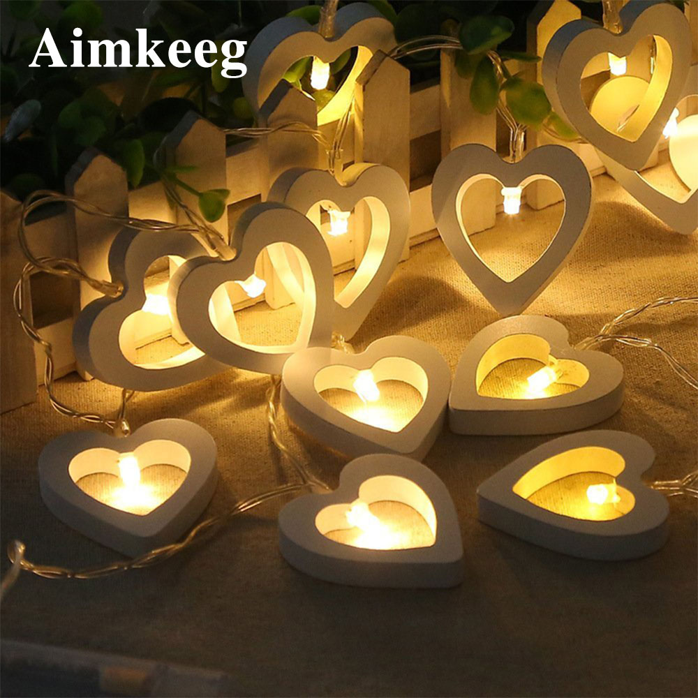 10leds/20leds Wooden Heart LED String Lights Romantic Valentine's Day Fairy Lights Holiday Christmas Wedding Led Lights Decor