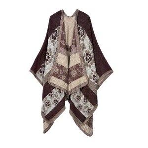 Image 2 - Новинка 2020, модное зимнее теплое пончо в клетку и накидки для женщин, шали большого размера, палантины, кашемировая Пашмина, женская одежда