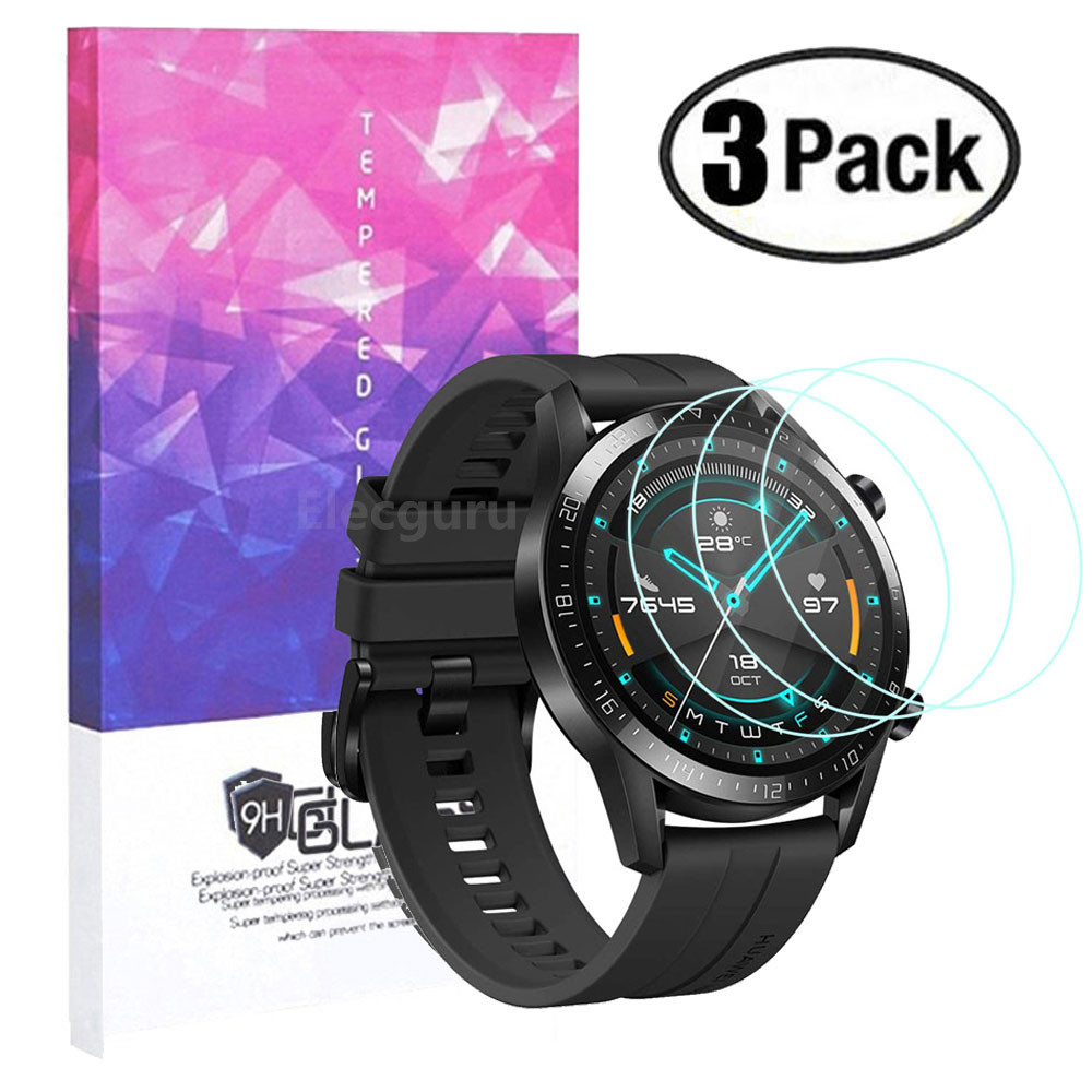 For Huawei Watch GT 2 (46mm) Screen Protector 9H Tempered Glass Scratch Proof Explosion-Proof Smartwatch Protective Glass 3 Pack