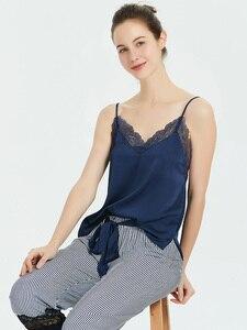 Image 5 - Pajamas For Women with Long Pants Satin Ice Silk V neck Striped Strap Lace Trim Sexy Sleepwear Nightie Womens Underwear Set