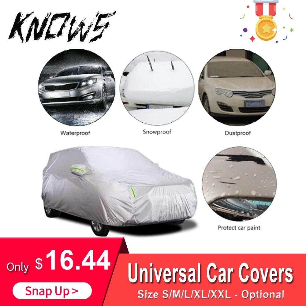 Cubierta de coche Universal tamaño S/M/L/XL/XXL cubierta de coche de interior al aire libre cubierta protectora resistente al polvo de la nieve UV del sol