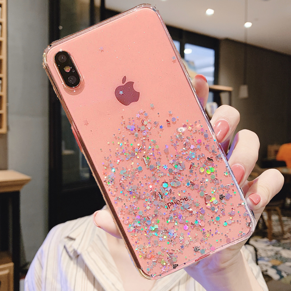 H053159e3205d4aff9d2ab044321c7892W - Solid quicks Case For iphone 11 8 7 Plus 6 6s Glitter Bling Sequins Epoxy Star Case For iphone 11 Pro MAX X XR XS Soft TPU Cover