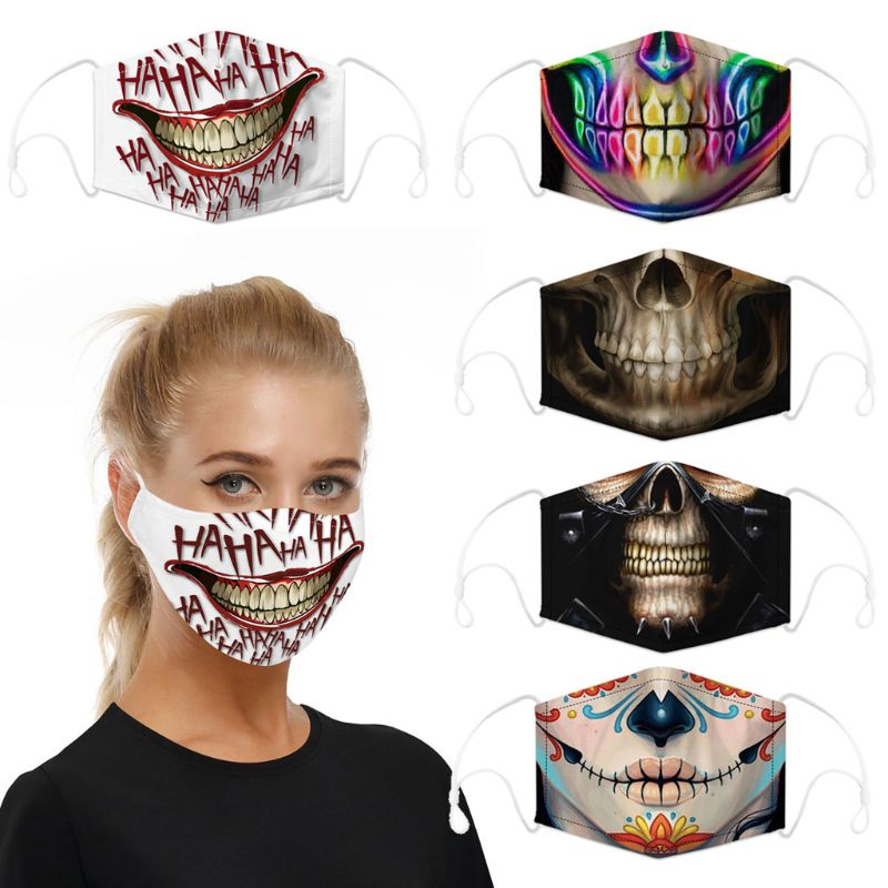 Adults Unisex Cool Skull Mask PM2.5 Activated Carbon Filter Protective Mask Washable Breathable Cotton Mouth Mask Anti Pollution