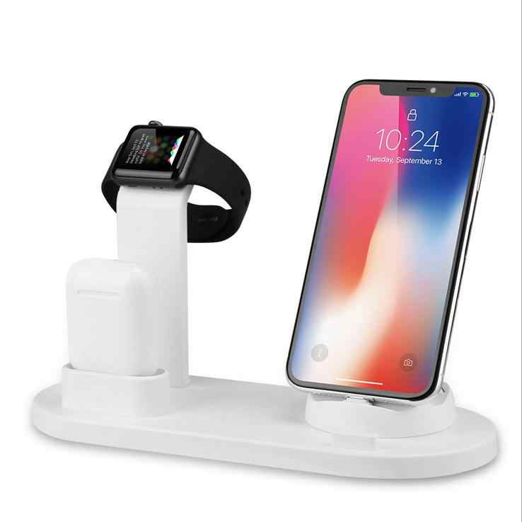 Base de carga inalámbrica QI 2 en 1 para iphone X XS MAX XR 8 Plus soporte de carga rápida USB 10W para Apple Watch Airpods