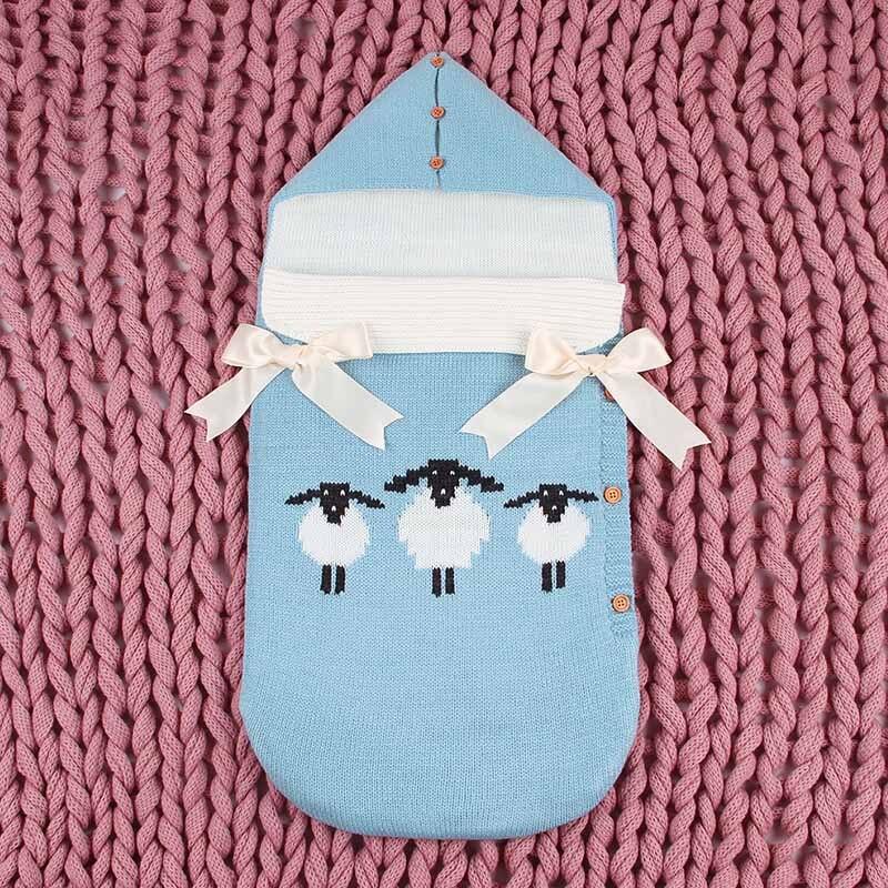 New Fashion Baby Sleeping Bag Thicken Envelope Winter Kids Stroller Knitted Sleep Sack Newborn Baby Swaddle
