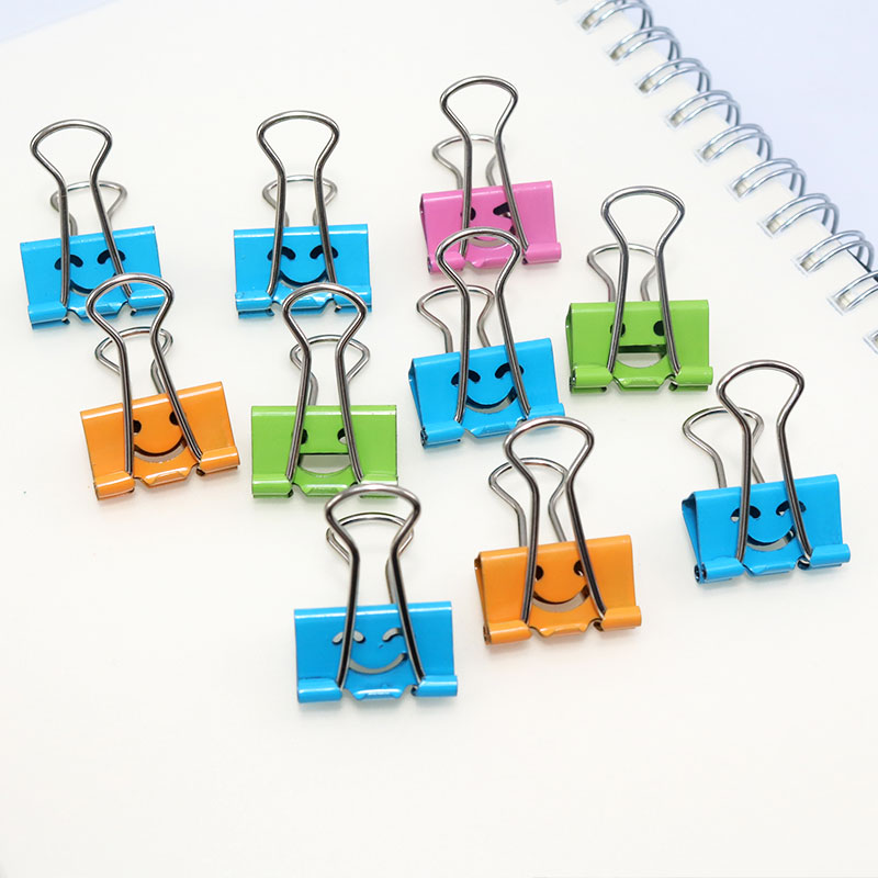 10 Pcs/box Smile Binder Clips 19mm Width Multi-color Metal Note Holder For Home Storage Clip School Stationery Binding
