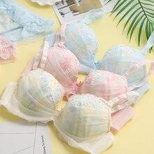 Yeni Japon tatlı dantel omuz askısı Loli rüzgar sutyen nakış yay kız bayanlar tanrıça sutyen seti AA013