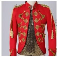 Red Court Dress Fringe Epaulet Rivet Jacket Nightclub Men Singer Performance Clothes Stand Collar Sl